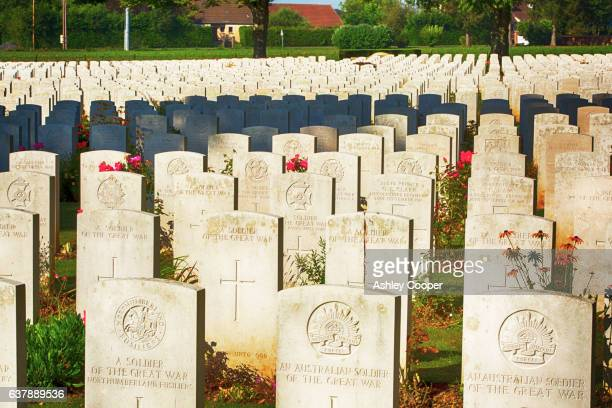 the delville wood cemetery to british dead of the battle of the somme at longueval, france. - army stock pictures, royalty-free photos & images