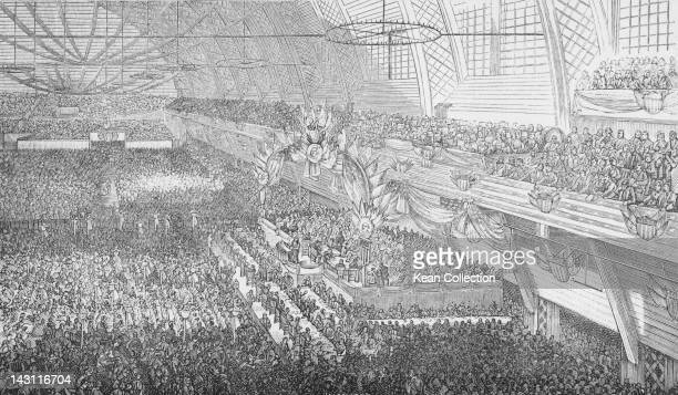 The Democratic National Convention taking place at the Exposition Hall Chicago 8th11th July 1884 The event resulted in the nomination of Grover...