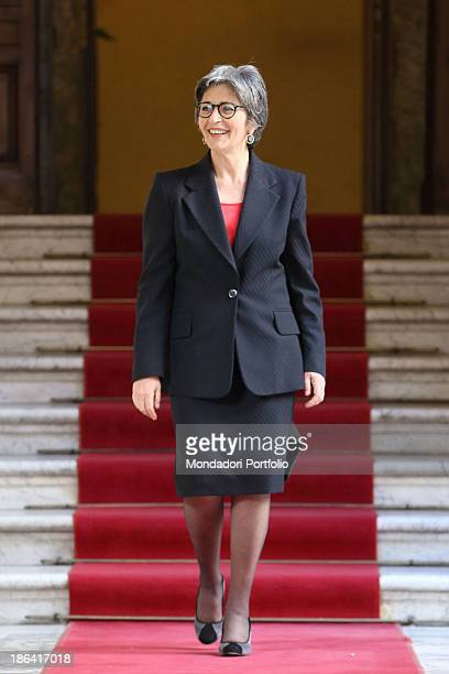 The Democratic Party leader of the Italian Senate Anna Finocchiaro smiling after going down a staircase of Palazzo Madama Rome 30th March 2012