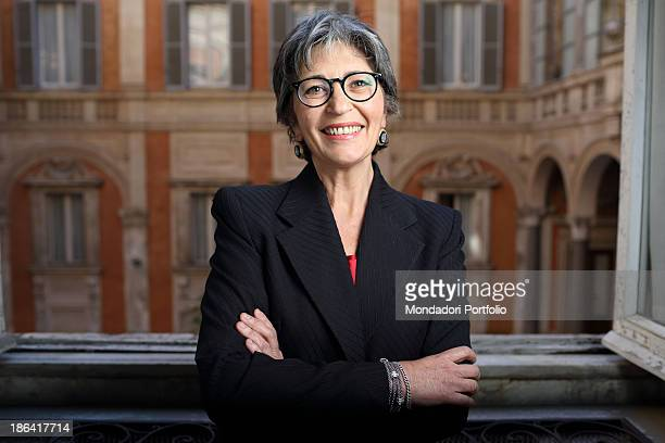 The Democratic Party leader of the Italian Senate Anna Finocchiaro posing smiling at Palazzo Madama Rome 30th March 2012