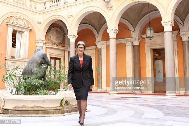 The Democratic Party leader of the Italian Senate Anna Finocchiaro posing smiling in the courtyard of Palazzo Madama Rome 30th March 2012