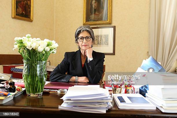 The Democratic Party leader of the Italian Senate Anna Finocchiaro sitting at the desk in her office in Palazzo Carpegna Rome 30th March 2012