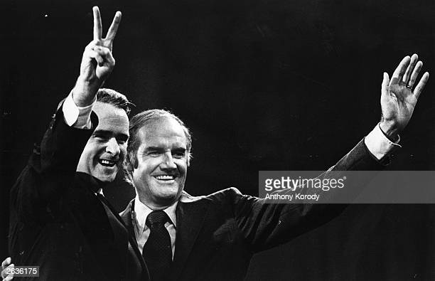 The Democratic Party presidential nominee Senator George McGovern and his running mate Senator Thomas Eagleton during their campaign for election....