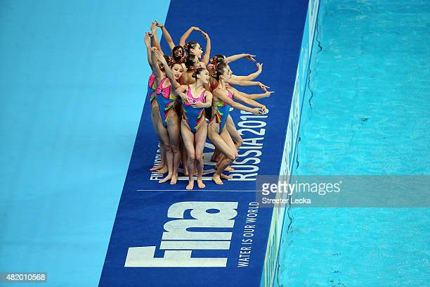 The Democratic People's Republic of Korea team competes in the Women's Free Combination Preliminary Synchronised Swimming on day two of the 16th FINA...