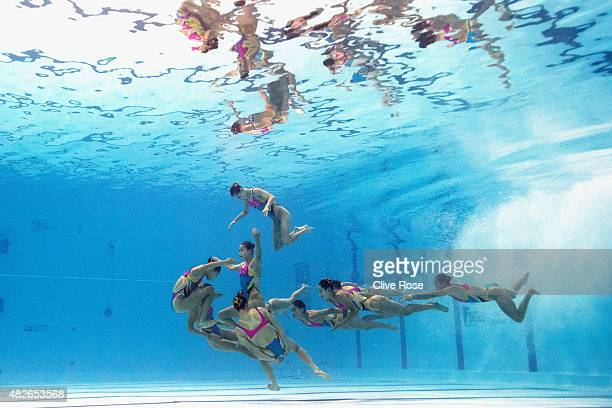 The Democratic People's Republic of Korea team competes in the Women's Free Combination Synchronised Swimming Final on day eight of the 16th FINA...