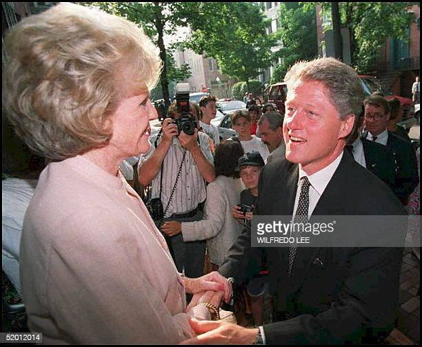 The Democratic presidential candidate Bill Clinton greets Pamela Harriman after a fundraiser on the steps of her Georgetown home in August 1992...