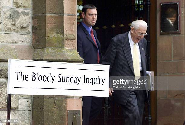 The Democratic Unionist Party Leader Rev Ian Paisley Laughes As He Leaves At The Bloody Sunday Inquiry May 8 2002 In Londonderry Northern Ireland Mr...