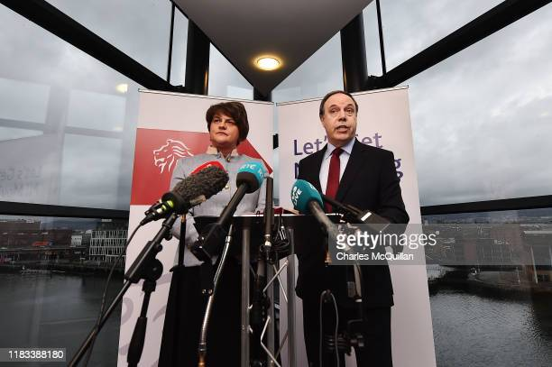 The Democratic Unionist Party's leader and the leader in the House of Commons, Arlene Foster and Nigel Dodds, launch a policy statement ahead of...