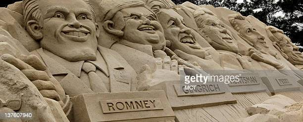 The Democratic Women of Horry County secured the rights to demolish the Republican 2012 Primary Debate Sand Sculpture dubbed Mount Myrtle Monday...