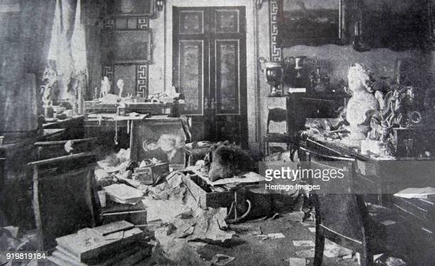 The demolished study of Tsar Nicholas II at the Winter Palace 1917 Found in the collection of Russian State Film and Photo Archive Krasnogorsk