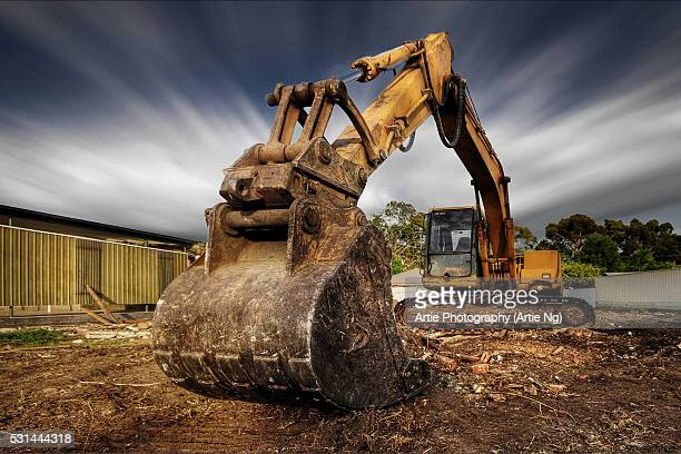 the demolition excavator - excavator stock photos and pictures
