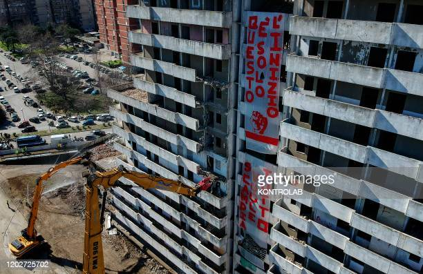 The demolition of the Green Sail building Vela Verde begins in Scampia in the suburb of Naples with two crawler excavators The northern Neapolitan...
