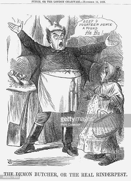 'The Demon Butcher or the Real Rinderpest' 1865 The demon butcher with his hair styled into the shape of horns stands in front of the animal...