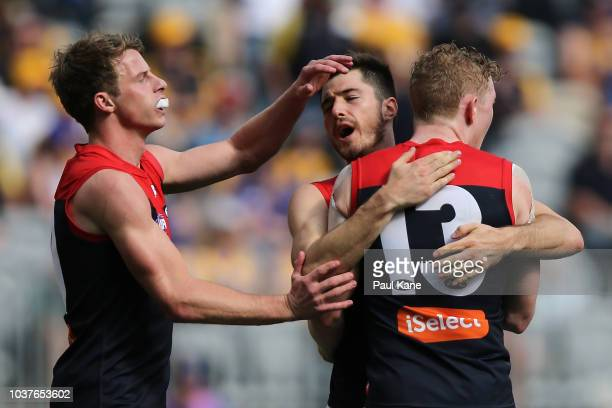The Demons celebrate a goal during the AFL Preliminary Final match between the West Coast Eagles and the Melbourne Demons on September 22 2018 in...