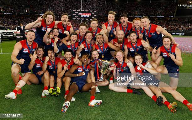 The Demons celebrate after the 2021 Toyota AFL Grand Final match between the Melbourne Demons and the Western Bulldogs at Optus Stadium on September...