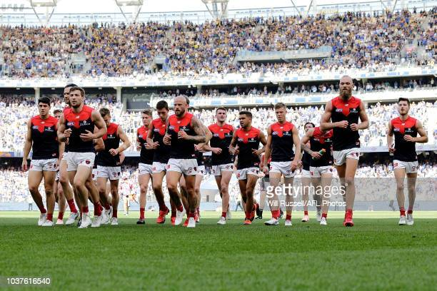 The Demons leave the field at the main break during the AFL Prelimary Final match between the West Coast Eagles and the Melbourne Demons on September...