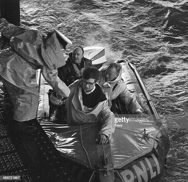 The demonstration of a new RNLI rescue boat with Councilor Leslie Tomlin and Mayor of Worthing Albert Gamble 1964