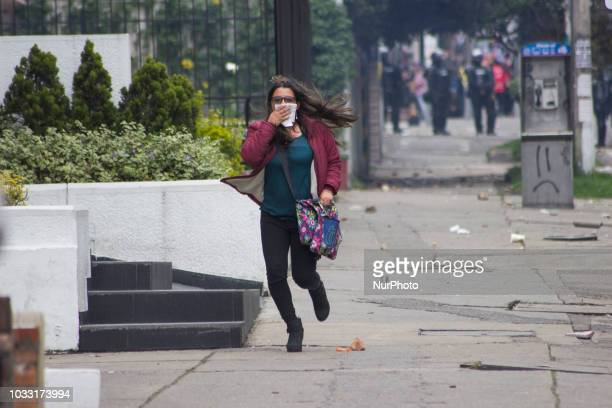 The demonstrations that lasted more than five hours in the vicinity of the Pedagogical University of Bogota Colombia on 13 September 2018 were...