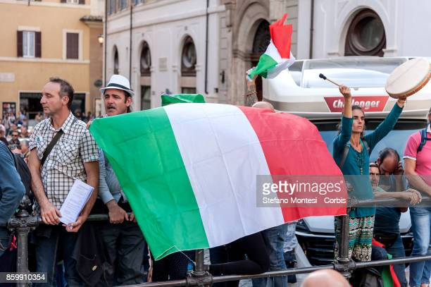 The demonstrators of the Italy Liberation Movement during a demonstration that called for the fall of the government on October 10 2017 in Rome Italy...
