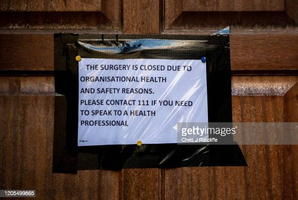 The Deneway branch of the County Oak Medical Centre Warmdene surgery is closed amid coronavirus fears in the city on February 11 2020 in Brighton...