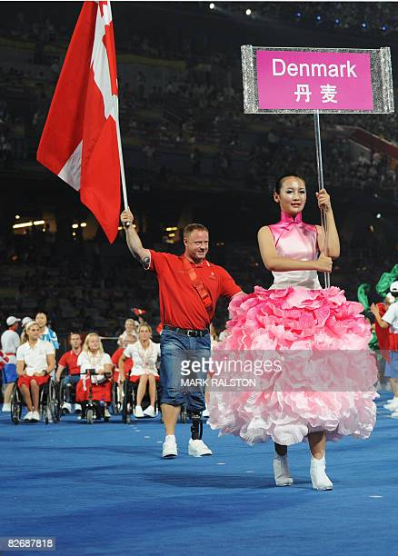 The Denmark delegation parades during the 2008 Beijing Paralympic Games opening ceremony at the National Stadium better known as the Bird's Nest in...