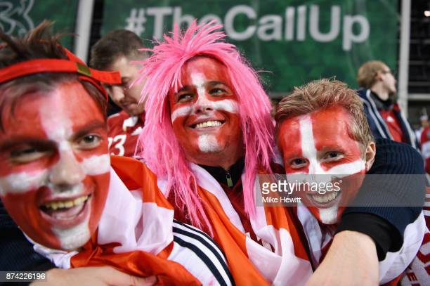 The Denmark fans celebrate after the FIFA 2018 World Cup Qualifier PlayOff Second Leg between Republic of Ireland and Denmark at Aviva Stadium on...