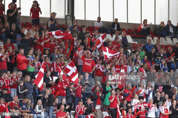 The Denmark fans celebrate Denmark's second goal during the UEFA Women's Euro 2017 Quarter Final match between Germany and Denmark at Sparta Stadion...