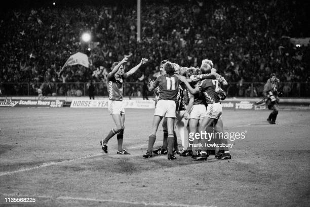 The Denmark national football team celebrates their victory against England during the UEFA Euro 1984 Qualifying Group 3 at Wembley Stadium, London,...
