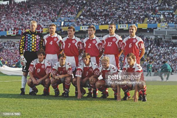 The Denmark national team line up prior to playing against Germany in the Final of the UEFA Euro 1992 Championship tournament at the Ullevi Stadion...