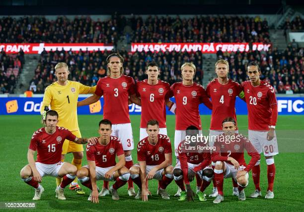 The Denmark players pose for a group picture prior to the international friendly match between Denmark and Austria at MCH Arena on October 16, 2018...