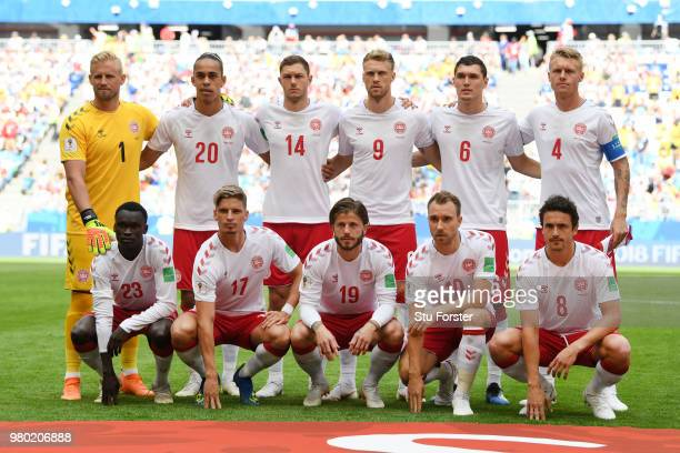 The Denmark players pose for a team photo prior to the 2018 FIFA World Cup Russia group C match between Denmark and Australia at Samara Arena on June...