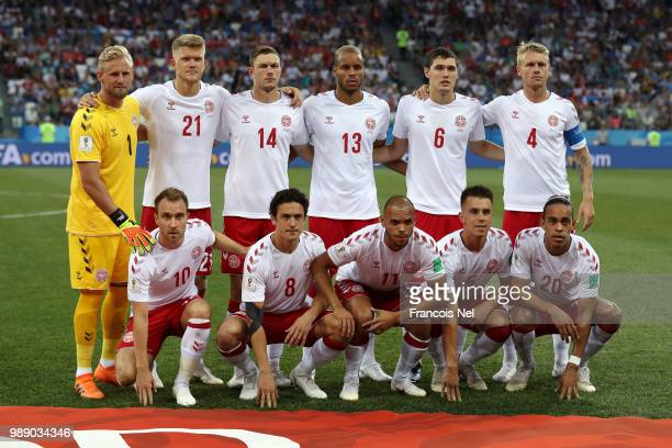 The Denmark players pose for a team photo prior to the 2018 FIFA World Cup Russia Round of 16 match between Croatia and Denmark at Nizhny Novgorod...