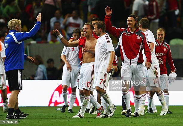 The Denmark team celebrate after beating Portugal in the FIFA2010 Group One World Cup Qualifying match between Portugal and Denmark at the Estadio...