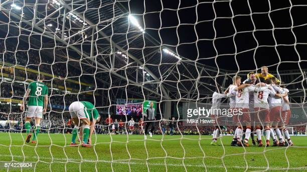 The Denmark team celebrate victory after the FIFA 2018 World Cup Qualifier PlayOff Second Leg between Republic of Ireland and Denmark at Aviva...