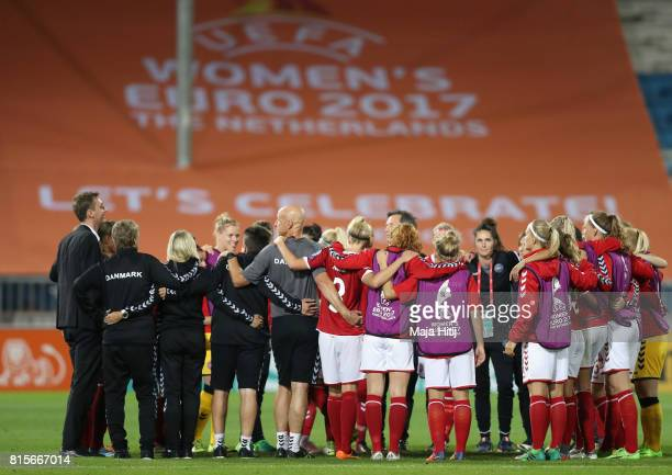 The Denmark team celebrate victory on the pitch after the Group A match between Denmark and Belgium during the UEFA Women's Euro 2017 on July 16 2017...