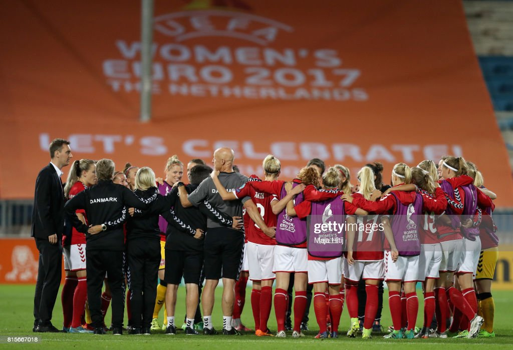 The Denmark team celebrate victory on the pitch after the Group A match between Denmark and Belgium during the UEFA Women's Euro 2017 on July 16, 2017 in Doetinchem, Netherlands.
