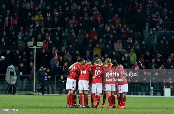 The Denmark team huddle prior to the International friendly match between Denmark and Panama at Brondby Stadion on March 22 2018 in Brondby Denmark