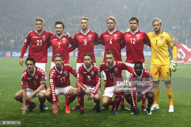 The Denmark team line up during the FIFA 2018 World Cup Qualifier PlayOff First Leg between Denmark and Republic of Ireland at Telia Parken on...