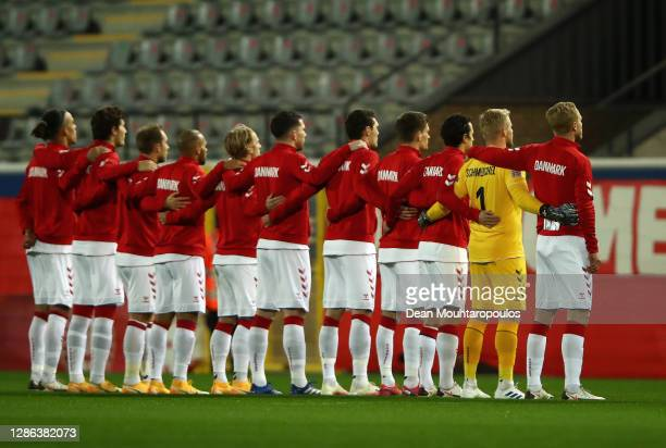 The Denmark team line up during the national anthems prior to the UEFA Nations League group stage match between Belgium and Denmark at King Power at...