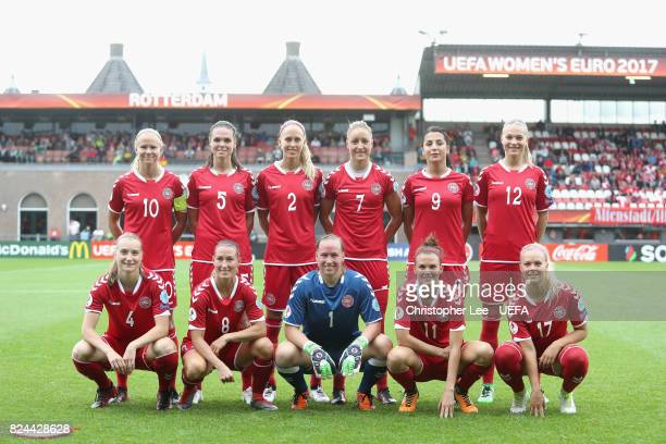 The Denmark team line up prior to the UEFA Women's Euro 2017 Quarter Final match between Germany and Denmark at Sparta Stadion on July 30 2017 in...