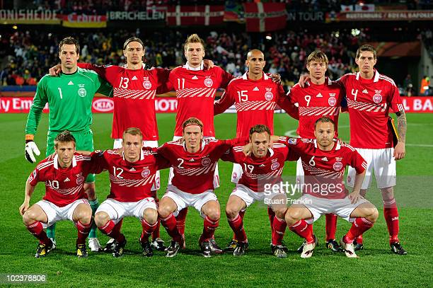 The Denmark team pose for a group photo prior to the 2010 FIFA World Cup South Africa Group E match between Denmark and Japan at the Royal Bafokeng...