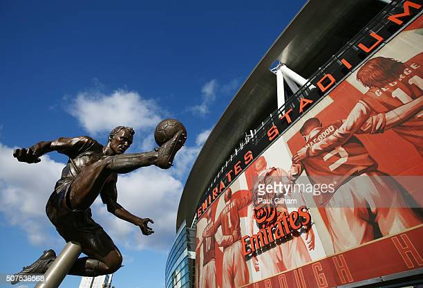 The Dennis Bergkamp statue is seen outside the stadium prior to the Emirates FA Cup Fourth Round match between Arsenal and Burnley at Emirates...