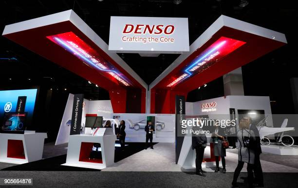 The Denso exhibit is shown at the 2018 North American International Auto Show January 16, 2018 in Detroit, Michigan. More than 5,100 journalists from...