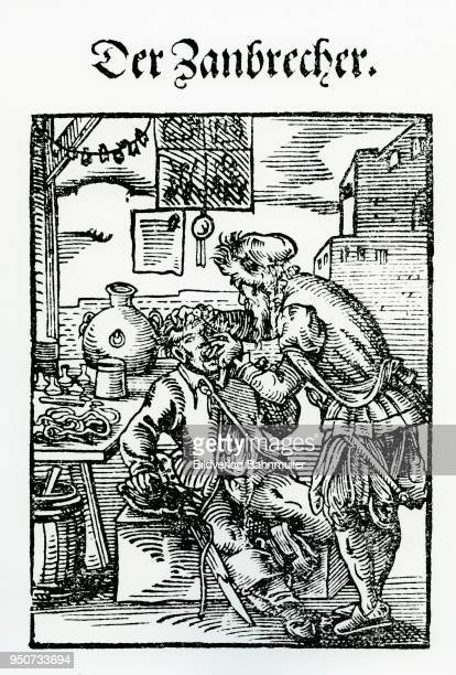 the dentist, dentist, book of estates, 1568, by jost amman, also jobst amman - history stock-fotos und bilder