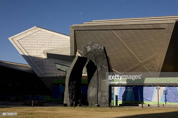 The Denver Art Museum designed by Daniel Libeskind and located in the downtown arts district is viewed in this 2009 Denver Colorado spring city...