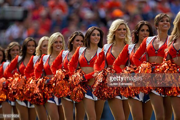The Denver Broncos cheerleaders perform during a break in the action against the San Francisco 49ers at Sports Authority Field Field at Mile High on...