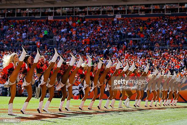 The Denver Broncos cheerleaders perform during a break in the action against the Philadelphia Eagles at Sports Authority Field Field at Mile High on...
