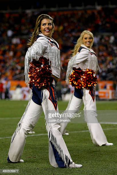 The Denver Broncos cheerleaders perform during a break in the action against the Kansas City Chiefs at Sports Authority Field Field at Mile High on...
