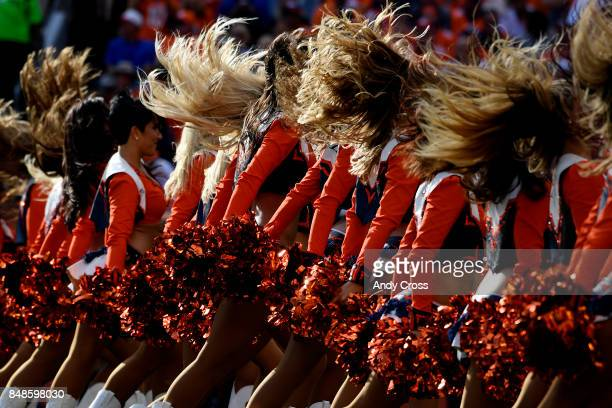 The Denver Broncos cheerleaders work during the second quarter on Sunday September 17 2017 The Denver Broncos hosted the Dallas Cowboys
