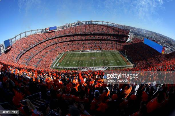 The Denver Broncos kick off to the New England Patriots to start the AFC Championship game at Sports Authority Field at Mile High on January 19 2014...